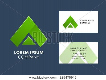 Creative Business Card Template With Green Triangle Logo. Name, Work Position, Phone, Website And Em
