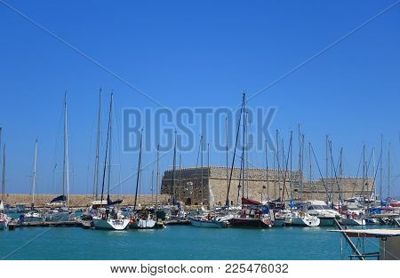 Summer Hot Day And Fortress In Heraklion On The Island Of Crete