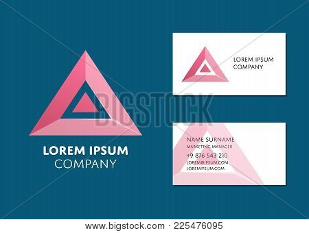 Creative Business Card Template With Red Triangle Logo. Name, Work Position, Phone, Website And Emai