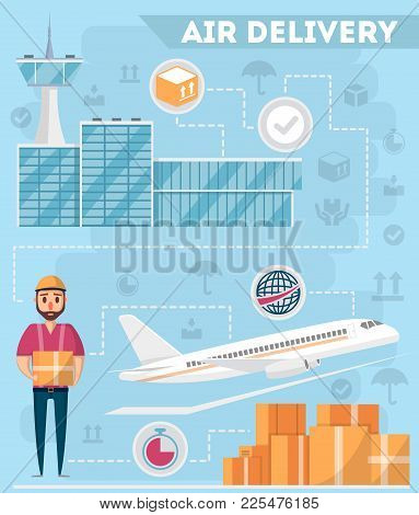 Airport Logistics And Delivery Management Poster. Commercial Worldwide Shipping, Freight Transportat
