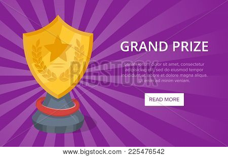 Golden Grand Prize Of Shield Shape On Purple Background. Favorite Award Sign, Trophy Cup Vector Illu