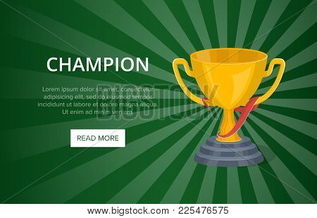 Golden Champion Cup On Green Background. Favorite Award Sign, Trophy Cup Vector Illustration. Sport