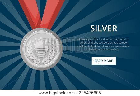 Silver Medal With Ribbon On Blue Background. Championship Winner Award Vector Illustration. Sport Co