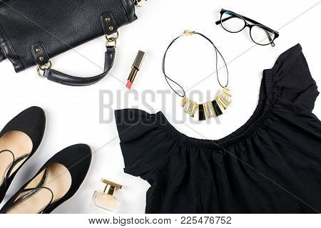 Woman Clothes And Accessories On White Background. Total Black Look - Black Summer Dress, Heeled Sho