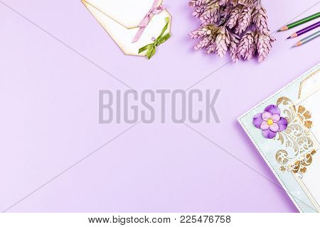 Scrapbook Elements And Decor On Pastel Background, Copy Space. Top View