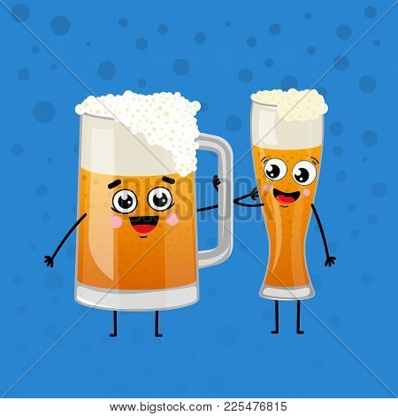 Happy Beer Mugs Animation Characters In Cartoon Style. Glass Pint Tankards Of Frothy Beer Vector Ill