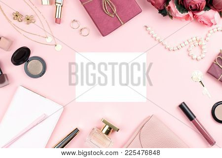 Woman Fashion Accessories, Flowers, Cosmetics And Jewelry On Pink Background, Copyspace. Womens Day