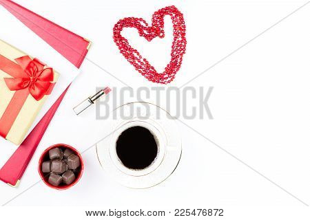 Valentine's Day Mock Up With Coffee Drink, Giftbox, Candies On White Background, Flat Lay