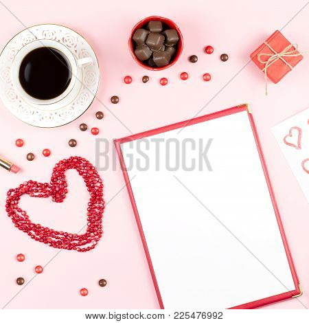 Valentine's Day Mock Up With Coffee Drink, Giftbox, Candies On Pastel Pink Background, Flat Lay