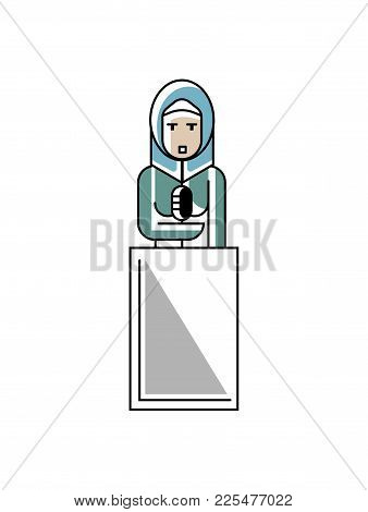 Arabic Businesswoman In Hijab Speech On Tribune. Corporate Business People Isolated Vector Illustrat