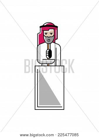 Arabic Businessman Speech On Tribune. Corporate Business People Isolated Vector Illustration In Line