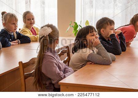 Chapaevsk, Samara Region, Russia - January 31, 2018: School Kids Of Elementary School Sit At Desks I