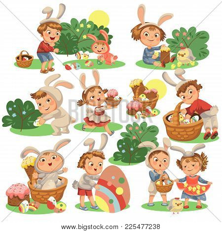 Set Of Happy Kids In Bunny Costume With Ears Hunting Easter Eggs, Childrens Play Rabbits On Spring H