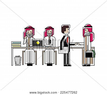 Business Meeting And Contract Conclusion Arabic Businessmen In Conference Room. Corporate Business P