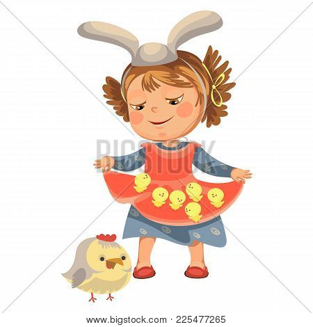 Little Girl Smile Holding In Her Dress Chickens, Baby In Apron With Rabbit Ears Headband, Easter Bun