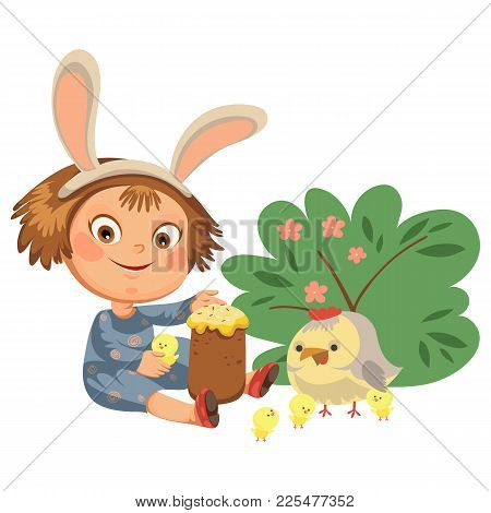 Little Girl Smile Playing With Chickens Under Flowers Bush, Baby In Apron With Rabbit Ears Headband,