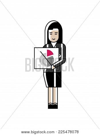 Asian Businesswoman In Business Suit Showing Financial Diagram. Corporate Business People Isolated V