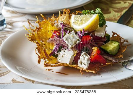 Delicious Greek Salad On A White Plate, Appetite,