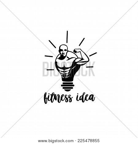 Minimal Logo Of A Man Being In Bulb On White Background With Typography Vector Illustration Design