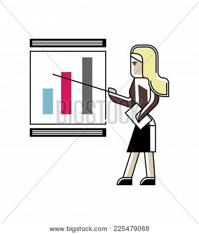 Blonde Woman Doing Business Presentation With Financial Diagram On Whiteboard. Corporate Business Pe