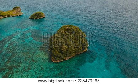 Aerial View Of Beautiful Tropical Island With With Azure Water, Boracay. Tropical Lagoon With Turquo