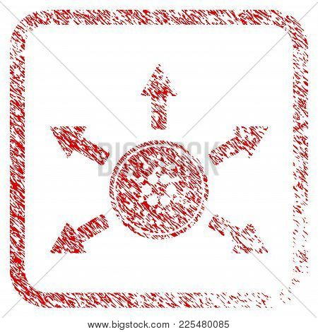 Cardano Coin Distribution Arrows Rubber Seal Stamp Watermark. Icon Vector Symbol With Grunge Design
