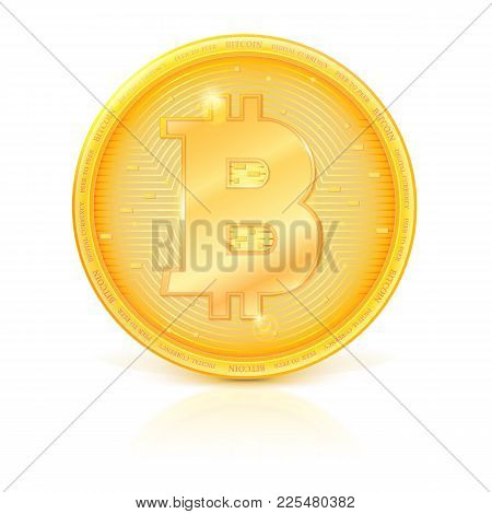 Coin Of Virtual Currency Bitcoin With Shadow And Reflection. Icon Of Golden Money Symbol Of Bitcoin