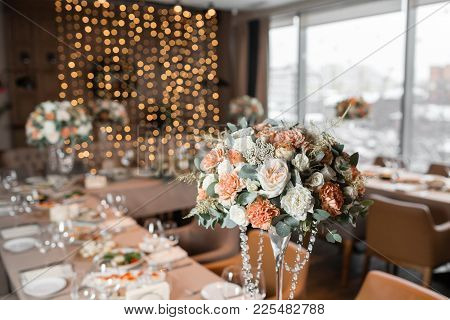 Banquet Table In The Restaurant, The Preparation Before The Banquet. The Work Of Professional Floris