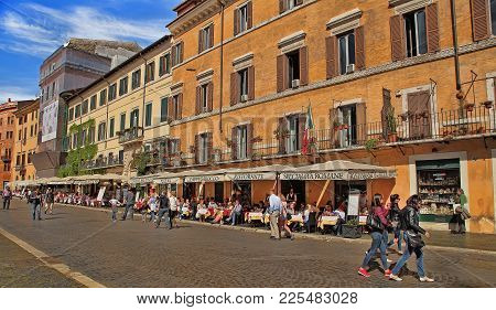 Roma, Italy, April 11, 2016 : View Of Restaurants On Piazza Navona In Rome.