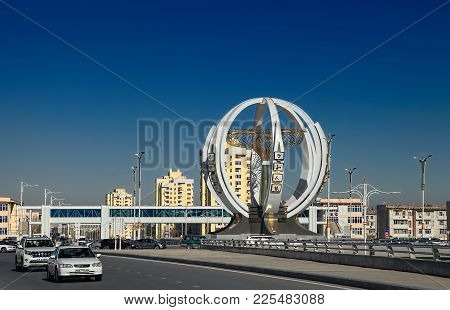 Ashgabat, Turkmenistan, January 25, 2017:  Modern Architecture Of Ashgabat. One Of The Streets Of As