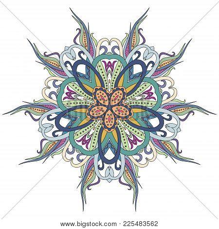 Mandala, Floral , Flower , Oriental Mandala, Coloring And Ethnic . Oriental Pattern, Vector Illustra