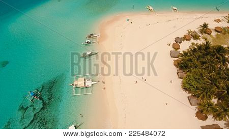 Aerial View Of Beautiful Tropical Island Daco With White Sand Beach. View Of A Nice Tropical Beach F