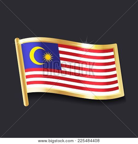 Flag Of  Malaysia In The Form Of Badge, Flat Image