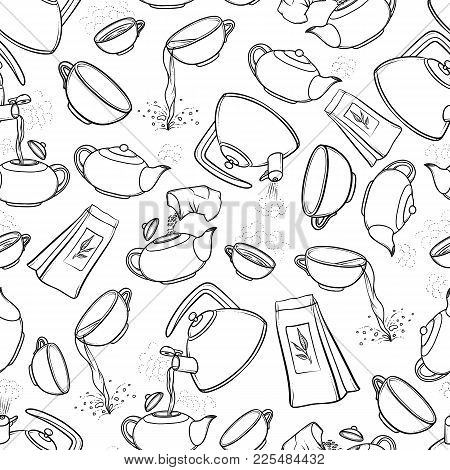 Vector Seamless Black And White Pattern Sketch Illustration Tea Brew Procedure Icons. Tea Making Ins