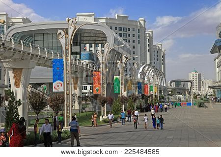 Ashgabat, Turkmenistan -  September 26, 2017:  Part Of The Sport Complex, Which Hosted 5 Asian Games
