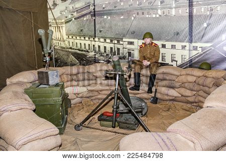 St. Petersburg, Russia - 7 May, The Fortified Mortar Point, 7 May, 2017. Visitor In The Exhibition P