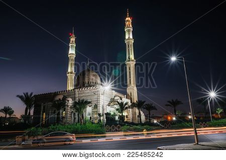 Mosque Masjid Al-mostafa In Town Of Sharm El Sheikh In Egypt At Night Illumination