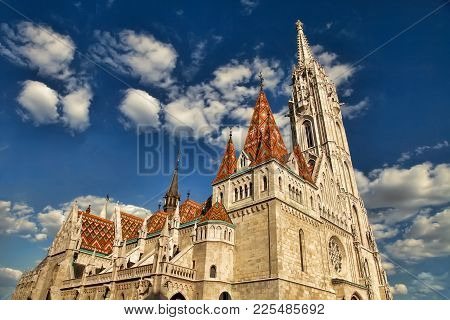 View To Matthias Church In The Castle District. Matthias Church Is One Of The Most Famous Landmarks