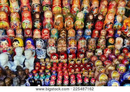 Moscow -september 19, 2017: Very Large Selection Of Matryoshkas And Other Russian Souvenirs At The G