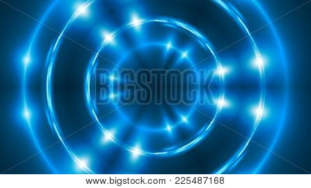 Abstract Background With Vj Fractal Blue Kaleidoscopic. 3d Rendering Digital Backdrop.