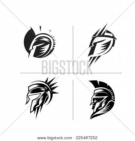 A Set Of Spartan Helmats On White Background Vector Illustration Design.