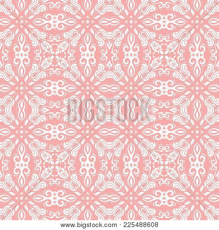 Classic Seamless Pink And White Pattern. Traditional Orient Ornament. Classic Vintage Background