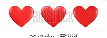 Set Of Three Red Hearts With Different Falling Light, Vector
