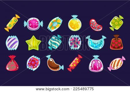 Collection Of Various Colorful Candies In Glossy Wrapper. Graphic Design For Computer Or Mobile Game