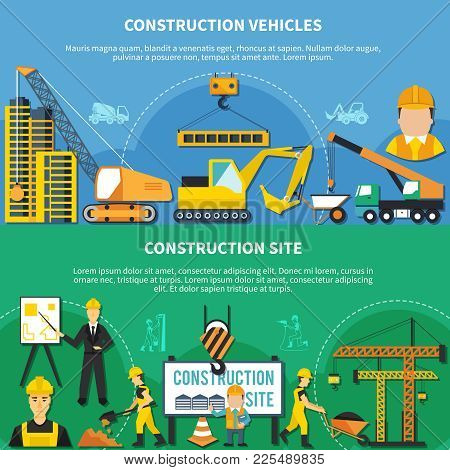 Two Flat And Colored Construction Worker Banner Set With Construction Vehicles And Site Descriptions