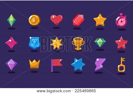 Set Of Various Items For Gaming Interface. Crystal, Coin, Heart, Star, Stopwatch, Shield, Trophy, Cr