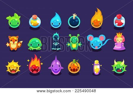 Assets For Mobile Game With Funny Creatures And Objects. Aliens, Fish, Mouse, Fox, Toad, Princess, B
