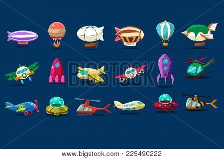 Cartoon Set Of Different Types Of Aircrafts. Alien Saucers, Airplanes, Spaceship, Balloons, Helicopt