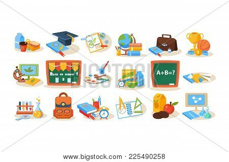 Colorful Set Of Various School Objects For Education Concept. Chalkboard, Lunch, Books, Pens, Paints