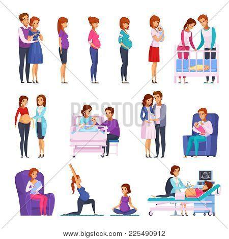 Set Of Cartoon Icons With Gymnastics During Pregnancy, Medical Examination, Childbirth, Newborn, Hap